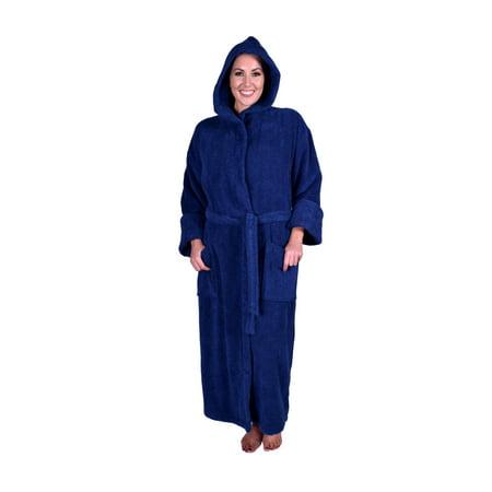 Puffy Cotton Heavy Adult Unisex Hoodie Bath Robe 100% Natural Soft Cotton - Navy Blue