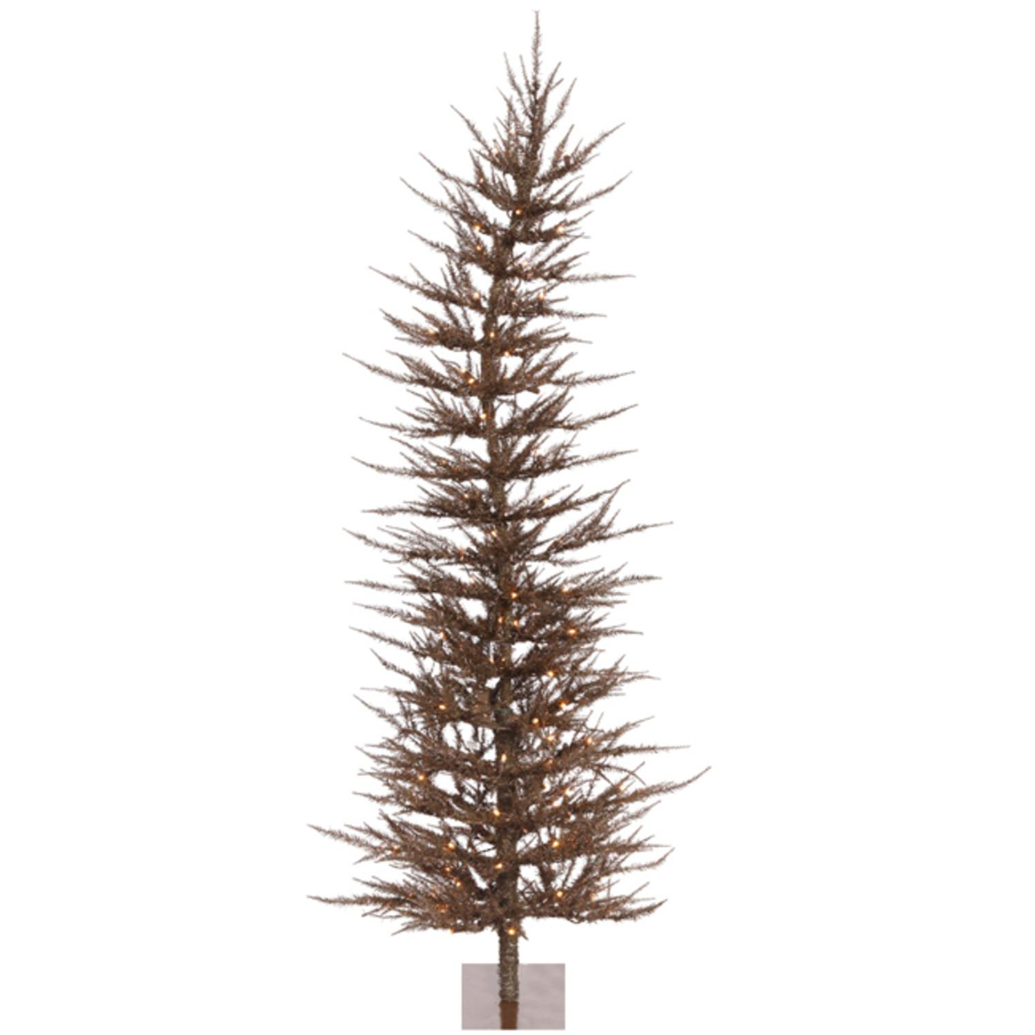 4' Pre-Lit Whimsical Brown Artificial Tinsel Christmas Tree - Clear Lights