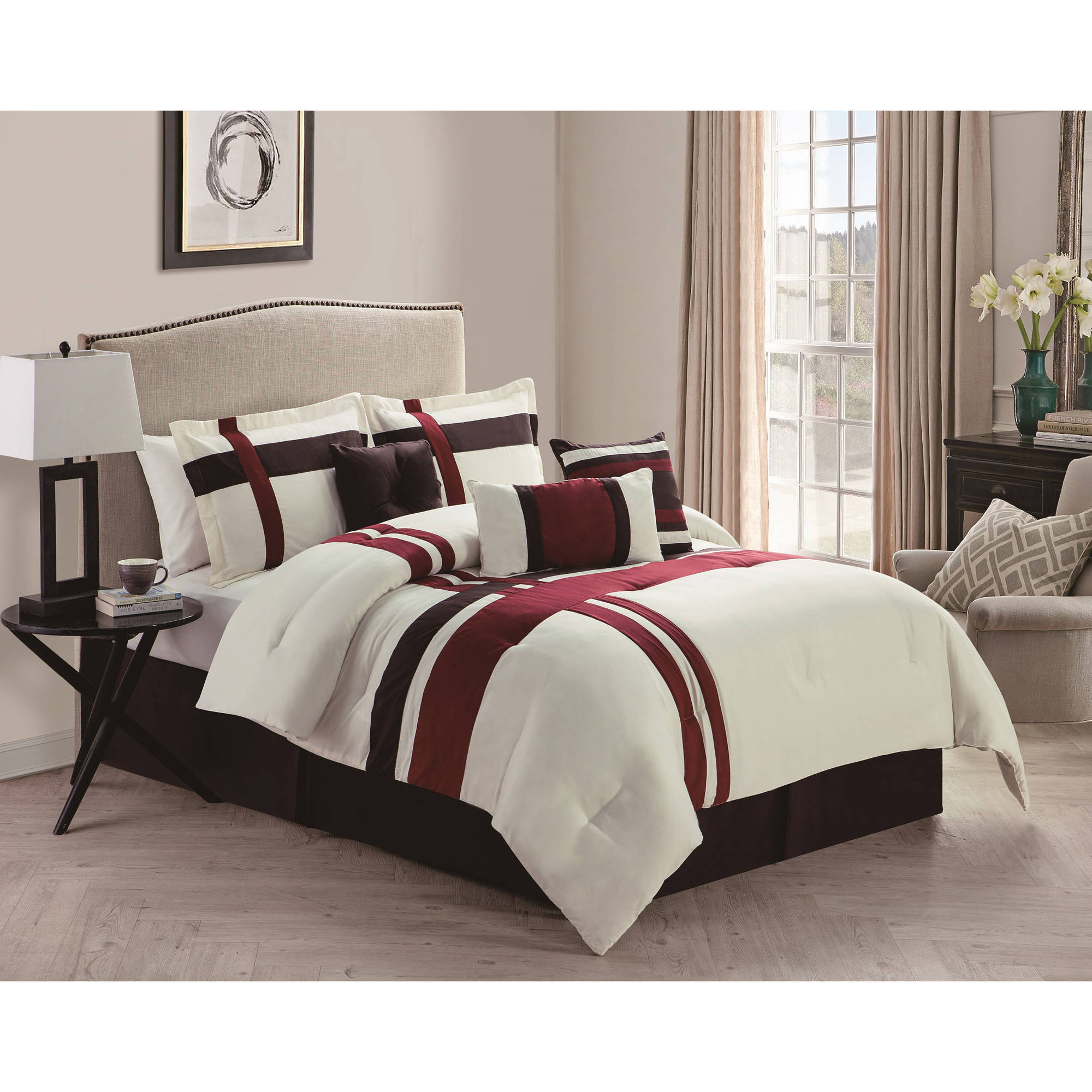 VCNY Home Berkley 7-Piece Multi-Colored Stripe Bedding Comforter Set with Decorative Pillows, Multiple Colors Available