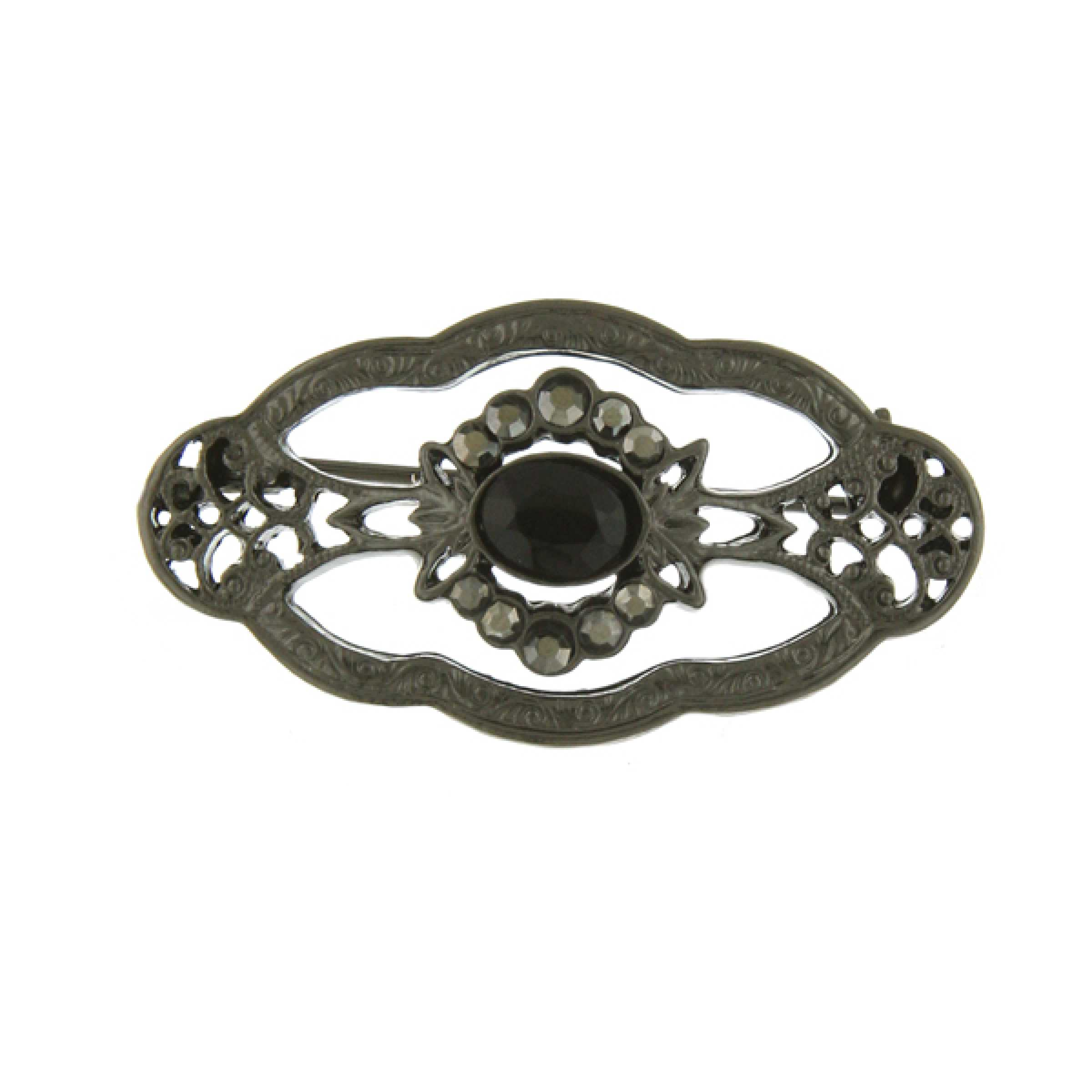 Downton Abbey Jet Jeweled Edwardian Oval Brooch by Downton Abbey