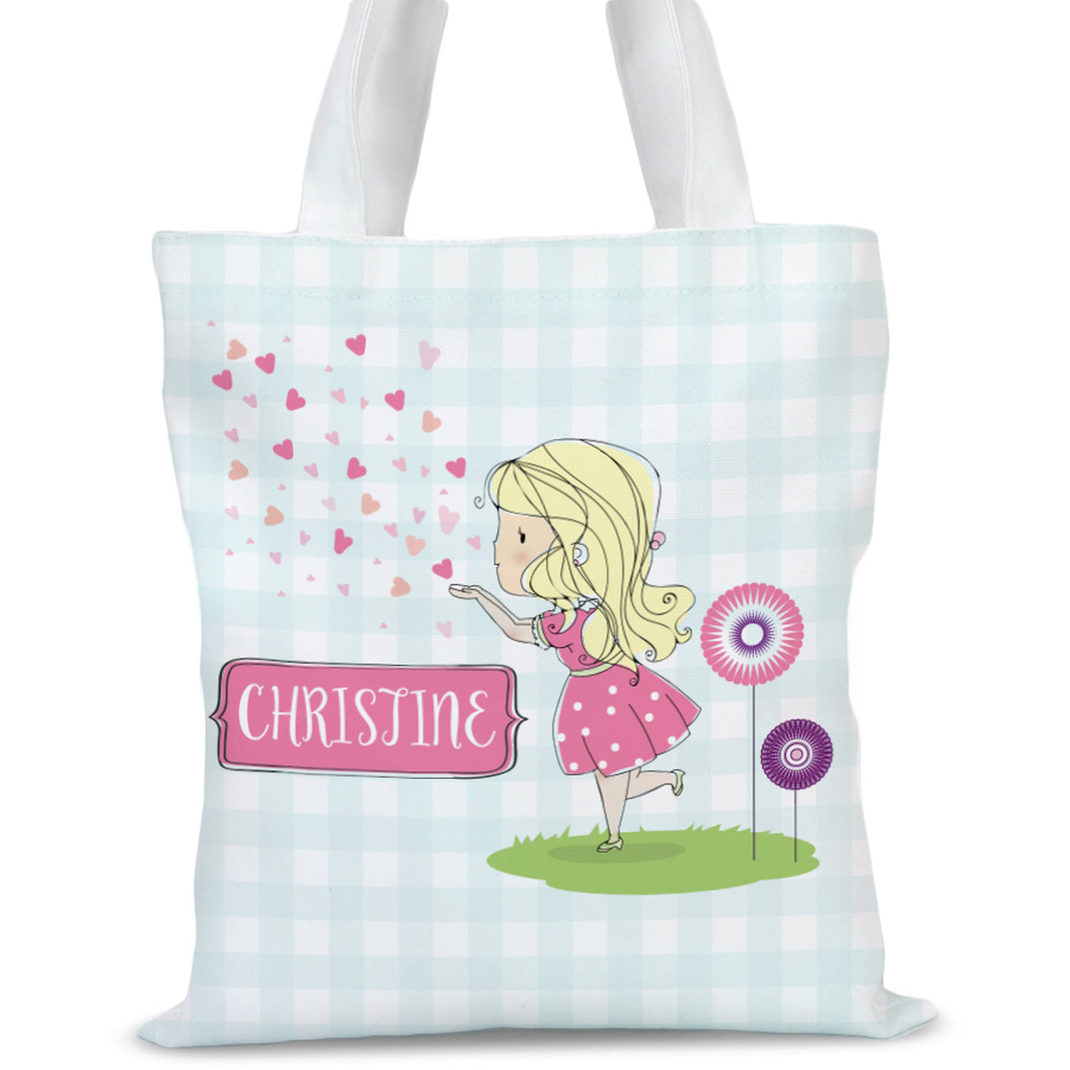"Personalized Heart Kisses Kids Tote Bag, Sizes 11"" x 11.75"" and 15"" x 16.25"""
