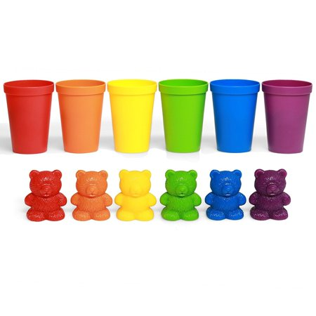 72 Rainbow Colored Counting Bears with Cups for Children, Montessori Toddler Learning Toys, Colorful Educational Tool for Learning STEM Education, Mathematics, Counting and Sorting Toys for