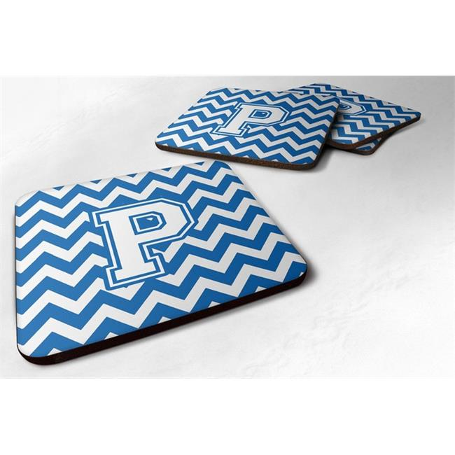 Carolines Treasures CJ1045-PFC Letter P Chevron Blue & White Foam Coaster, 3.5 x 0.25 x 3.5 in. - Set of 4 - image 1 de 1