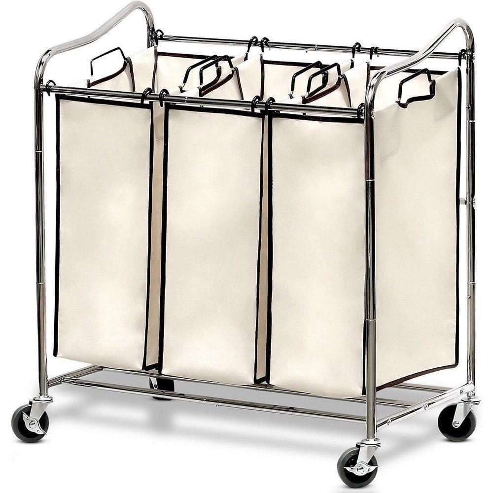 Ktaxon Laundry Sorter Cart 3-Bag Classics Rolling Laundry Hamper, Sturdy Frame