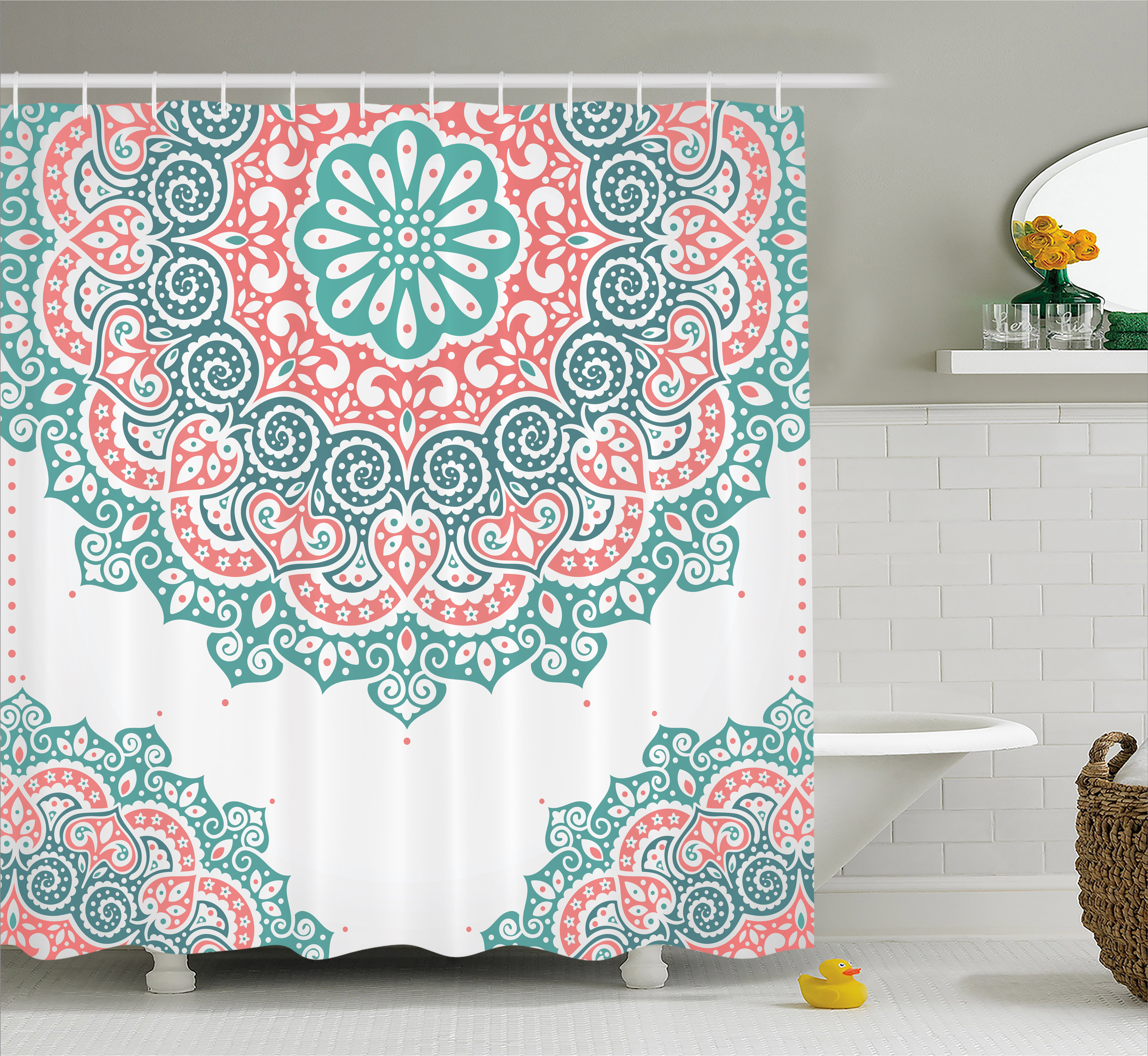 Henna Shower Curtain, Soft Colored Mandala South Asian Culture Inspired Ethnic Style Floral Image, Fabric Bathroom Set with Hooks, 69W X 70L Inches, Turquoise Coral Teal, by Ambesonne