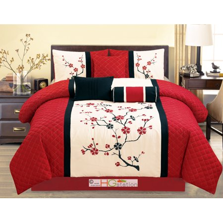7-Pc Quilted Peach Plum Blossom Tree Embroidery Comforter Set Red Off-White Black