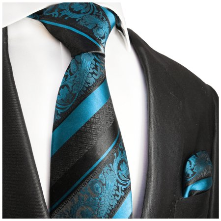 - Paul Malone Turquoise and Black Silk Tie and Pocket Square