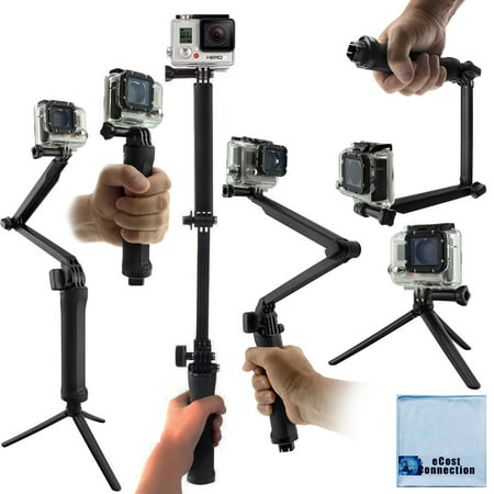 3-in-1 for ALL GoPro HERO Cameras: Grip, Monopod Arm, Tabletop Tripod + eCost Microfiber Cloth ()