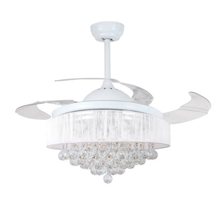 Ceiling Fans With Lights 42 Modern White Fan Retractable Blades Crystal Led Chandelier