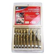 "8 Piece Titanium Silver & Deming Power Drill Bit Set Drilling 9/16""-1"""