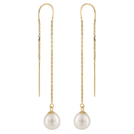 Handpicked AAA+ 7.5-8mm White Rice Freshwater Cultured Pearls in 14K Yellow Gold U-Threader Chain Through Drop Dangling Earrings