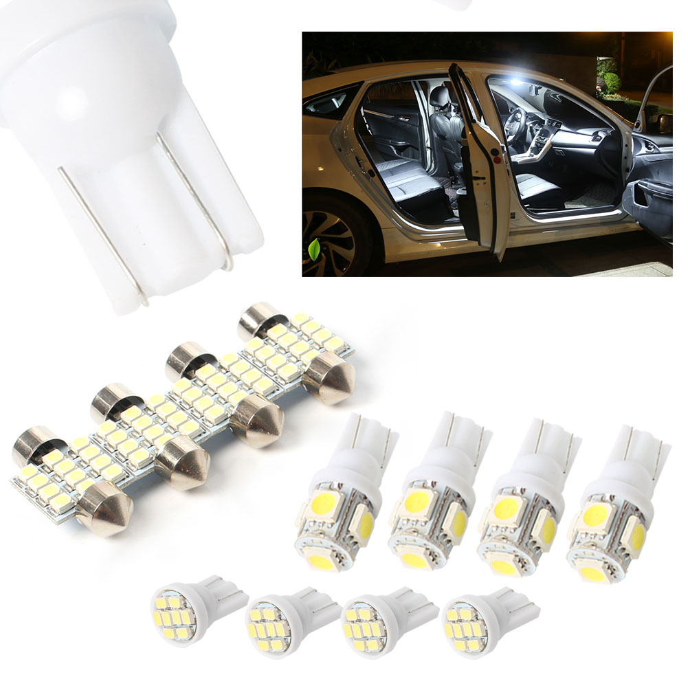 GZYF 11pcs White LED Lights T10 & 31mm Map Dome + License Plate Wedge Bulb W5W 192 194