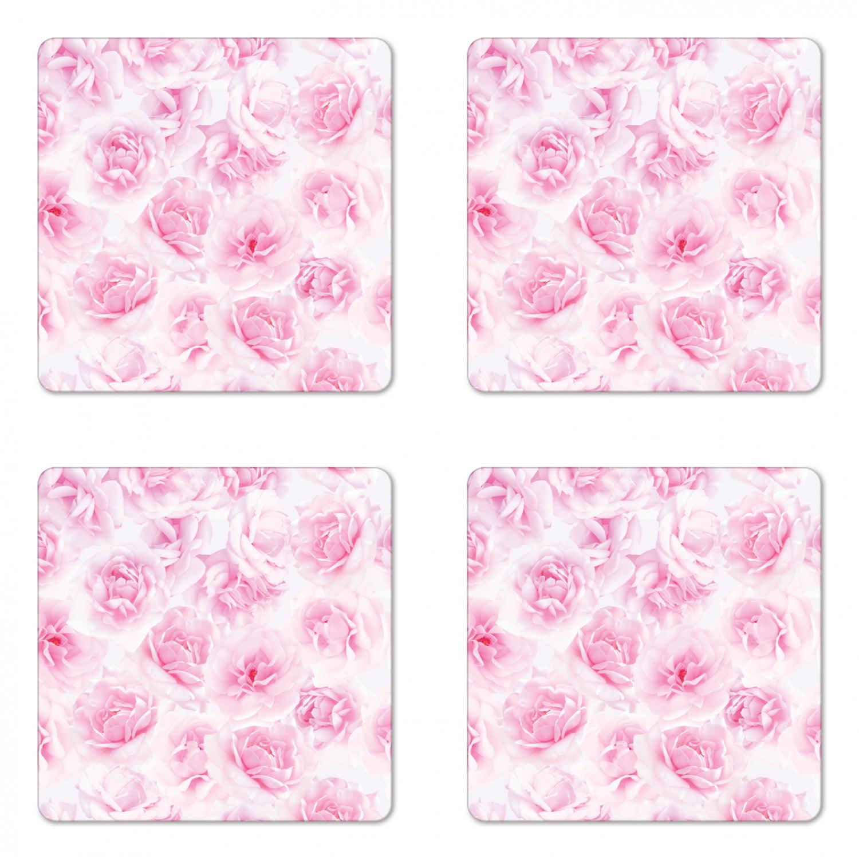 Coasters Soft Pink Rose Set of 4