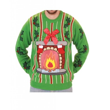 Fireplace LED Light Up Ugly Christmas Sweater - Cheap Christmas Sweater