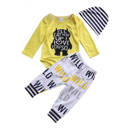 XIAXAIXU Newborn Infant Baby Boys Monster Printed Tops Romper Long Pants Hat 3Pcs Outfits Set Clothes