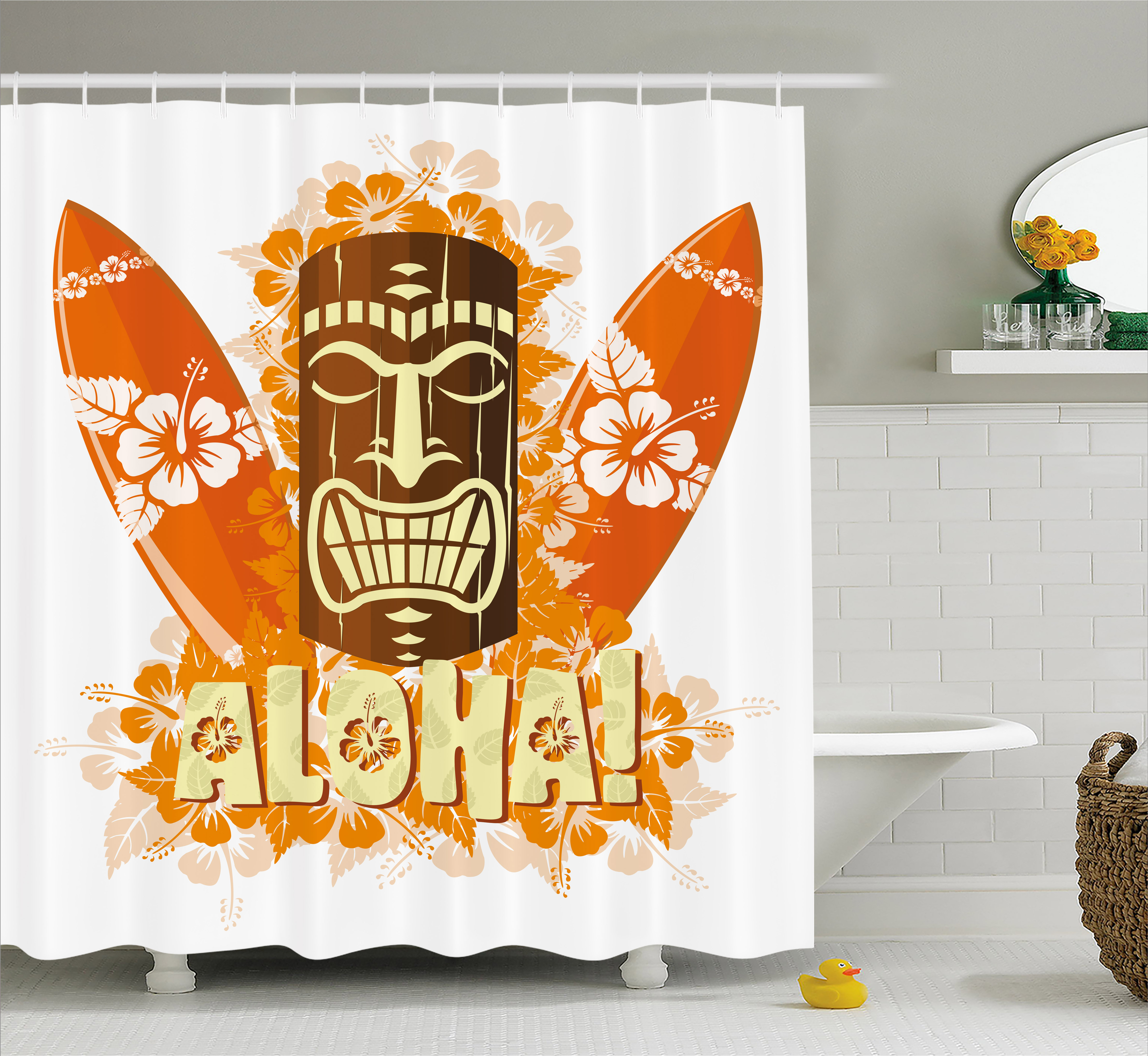 Tiki Bar Decor Shower Curtain, Hibiscus Flora Burst Orange Surfboards Aloha  Tropical Summer, Fabric