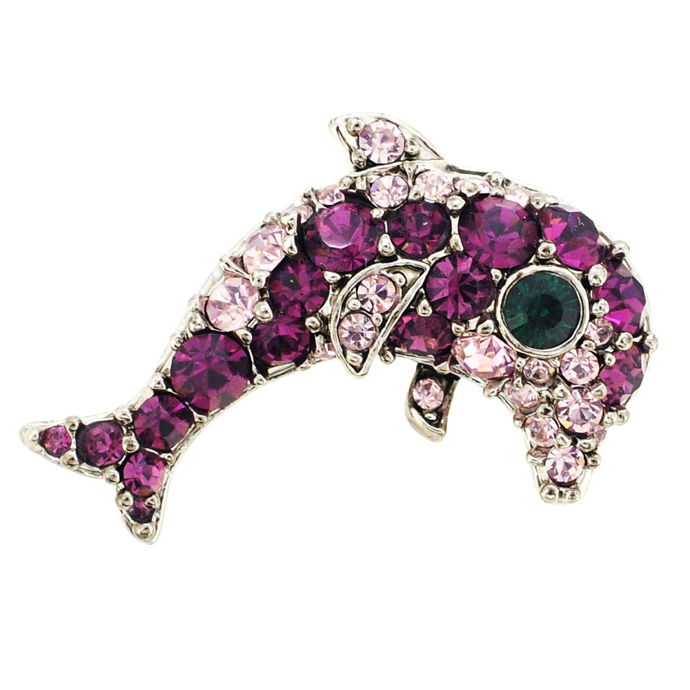 Amethyst Purple Dolphin Swarovski Crystal Brooch pin by