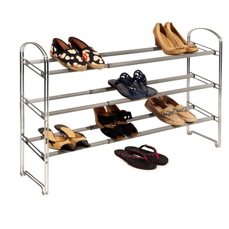3-Tier Expandable Shoe Rack, Chrome by Seville Classics ()