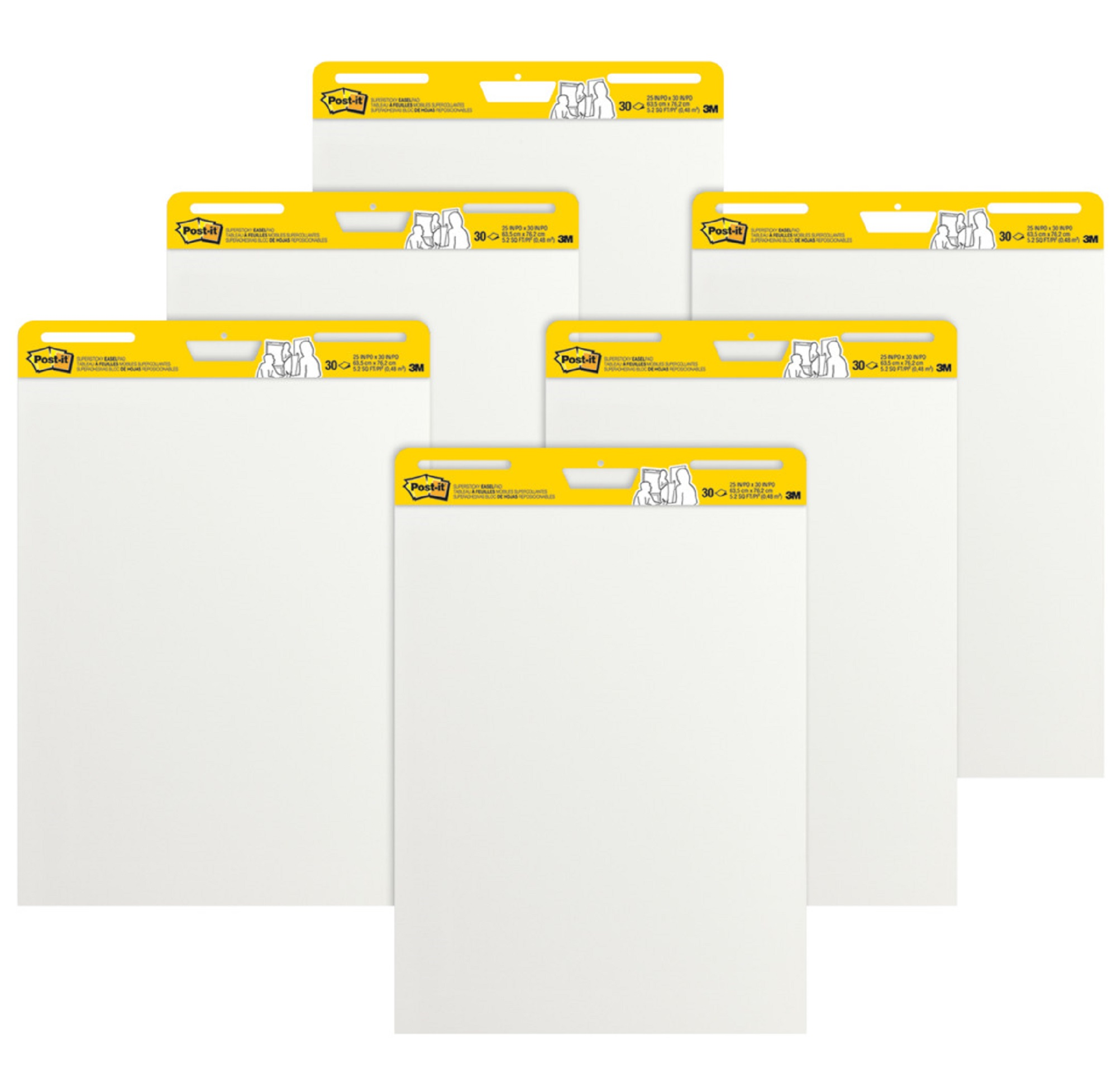 Post-it Super Sticky Easel Pad (6 Count), 25 x 30 inches, 30 Sheets/Pad, White