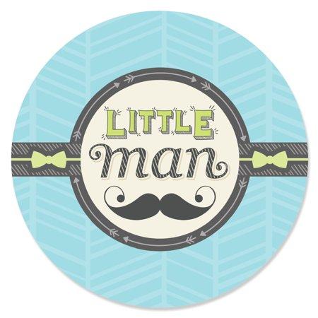 Dashing Little Man Mustache -Circle Sticker Labels - 24 - Einstein Moustache