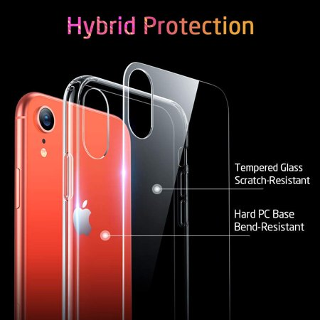Mimic Series Glass Case for iPhone XR, by ESR 9H Tempered Glass Back Cover Scratch Resistant, Soft Silicone Bumper Shock Absorption , Clear/Red Blue Crystal - image 6 de 9