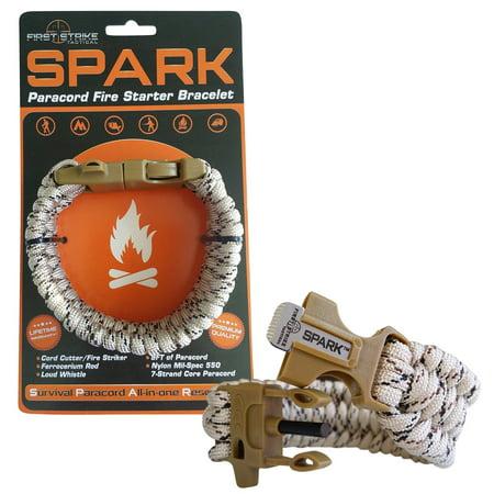 Spark (TM) Fire Starter Outdoor Survival Paracord Bracelet Tan Camo with Khaki Whistle Side Release Buckle Kit with Scraper - Best FIRE Starter (Khaki)