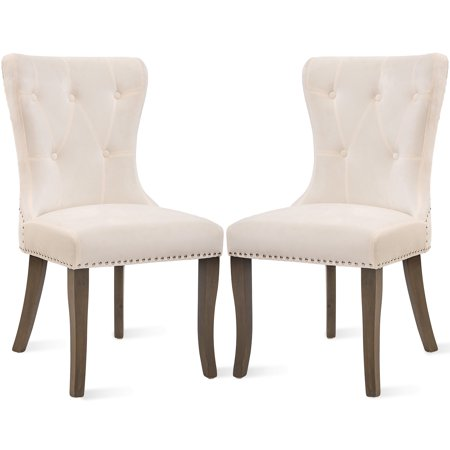 JUMPER Dining Chair Tufted Armless Chair Upholstered Accent Chair, Set of 2 (Beige) ()