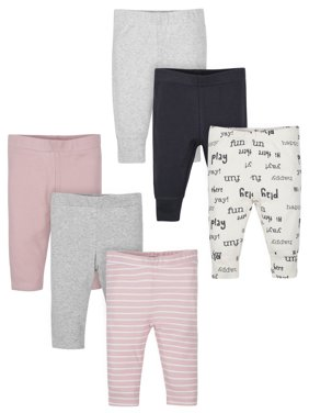 Wonder Nation Assorted Active Pant With Cuff, 6pk (Baby Girls)