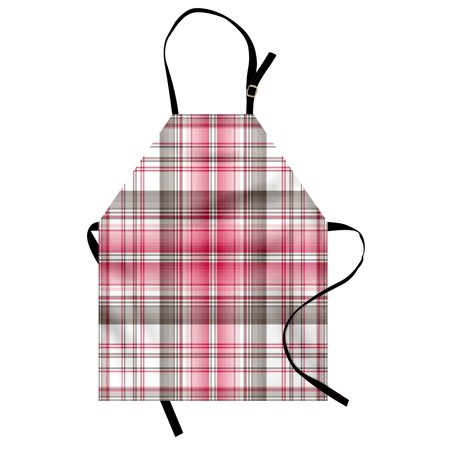 Checkered Apron Abstract Designed Celtic Repeating Motif in Vibrant Pink Modern Display, Unisex Kitchen Bib Apron with Adjustable Neck for Cooking Baking Gardening, Taupe Pink White, by Ambesonne