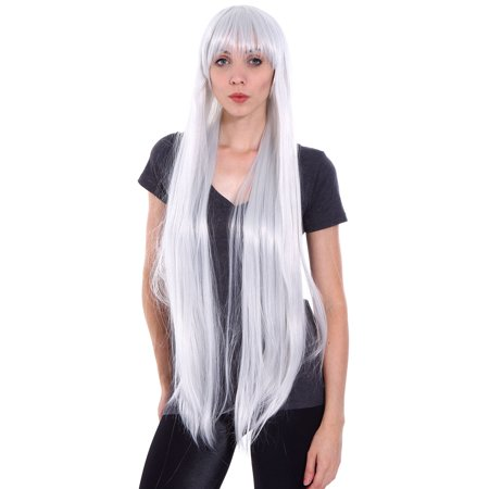 Silver Afro Wig (Taobaopit Long Cosplay Party Silver White Mixed Straight Wig)