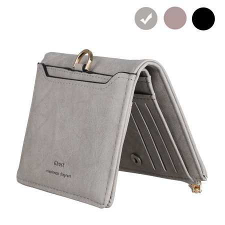 Women's Wallet - Small Bifold PU Leather Purse, Name Card Holder Organizer Wallet with Zipper Pocket, Credit Card Clutch Pocket Wallet Ladies Mini Purse for Women, Black/Gray/Purple