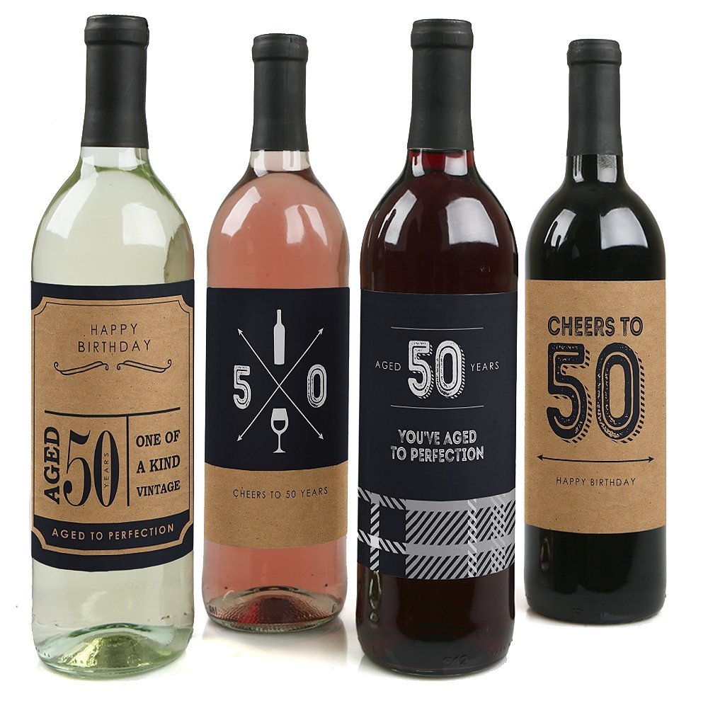 50th Milestone Birthday - Party Decorations for Women and Men - Wine Bottle Label Stickers - Set of 4