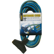 Prime KC606730 50' 14/3 SJTW Blue/Yellow Triple Tap Outdoor Extension Cord
