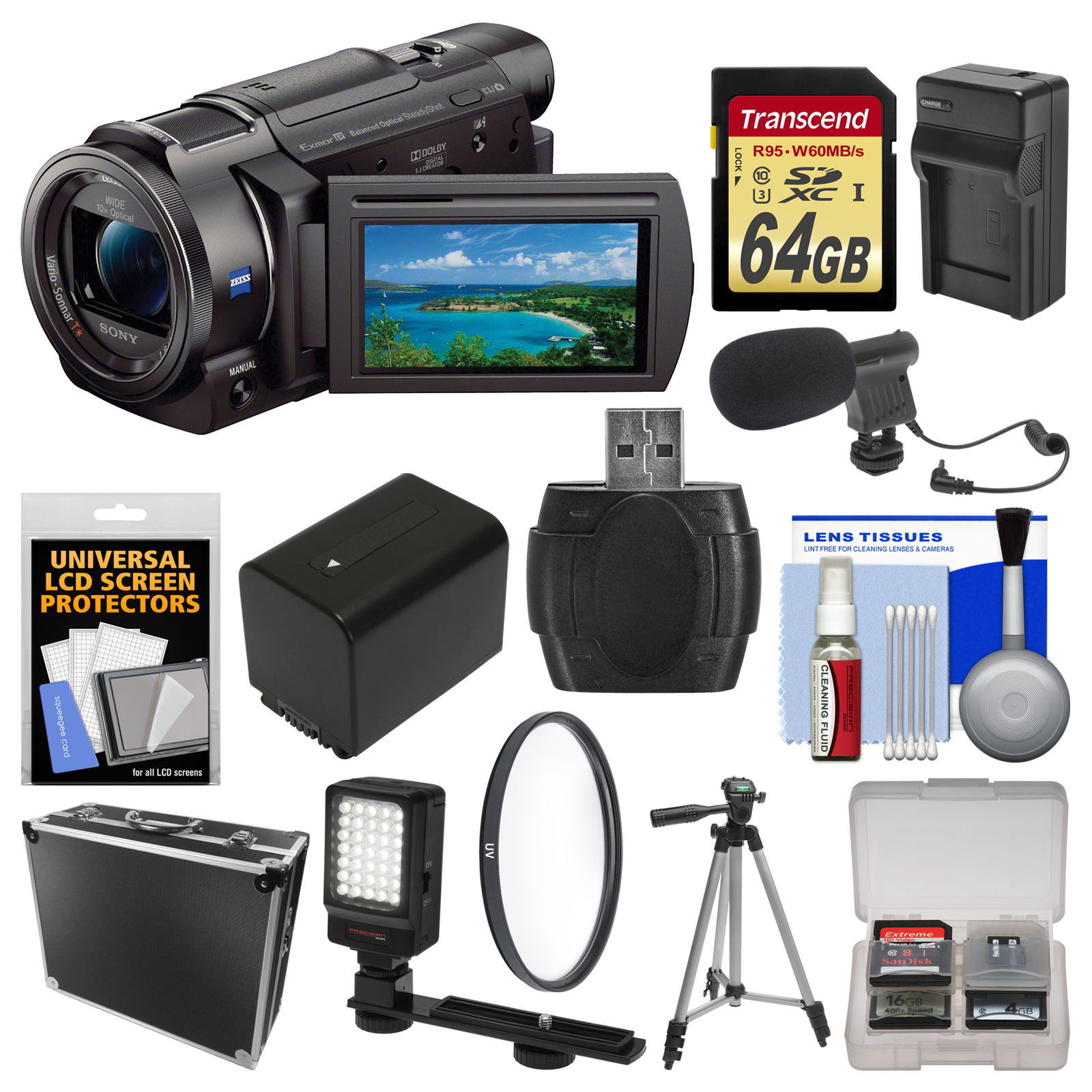 Sony Handycam FDR-AX33 Wi-Fi 4K Ultra HD Video Camera Camcorder with 64GB Card + Case + LED Light + Microphone... by Sony