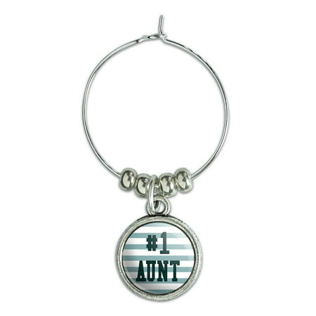 #1 Aunt Number One Favorite Wine Glass Charm Drink (Glasses Measurement Numbers)