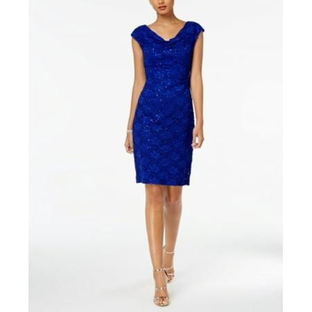 Women Metallic Cap Sleeve Cowl Neck Dress 14](Marine Dress Blues)