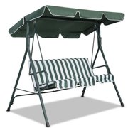 Newly Upgraded Version Seater Size Outdoor Garden Patio Swing Sunshade Cover Canopy Seat Top Cover Courtyard Waterproof Swing Sunshade 190*132*15cm Dark Green