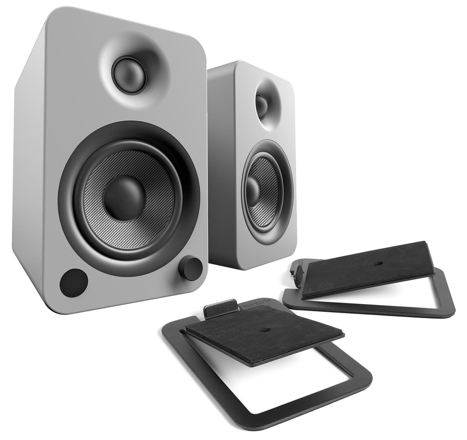 Kanto YU4 Matte Grey Powered Speakers with S4 Black Desktop Stand Kit