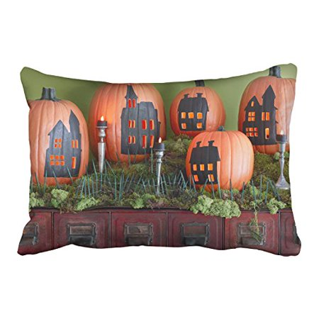 WinHome Halloween Funny Pumpkins Drawing And Candles And Green Plants Decorative Pillowcases With Hidden Zipper Decor Cushion Covers Two Side 20x30 inches - Halloween Plants