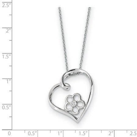 Sterling Silver CZ My Special Niece 18in Flower in Heart Necklace 18 Inch - image 2 of 3