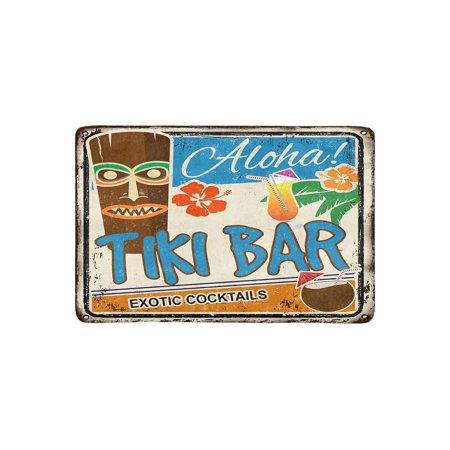 MKHERT Tiki Bar Rusty Sign Hawaiian Aloha Exotic Cocktails Doormat Rug Home Decor Floor Mat Bath Mat 23.6x15.7 inch