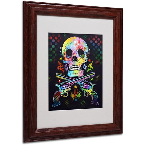 "Trademark Fine Art ""Skull and Guns"" Canvas Art by Dean Russo, Wood Frame"