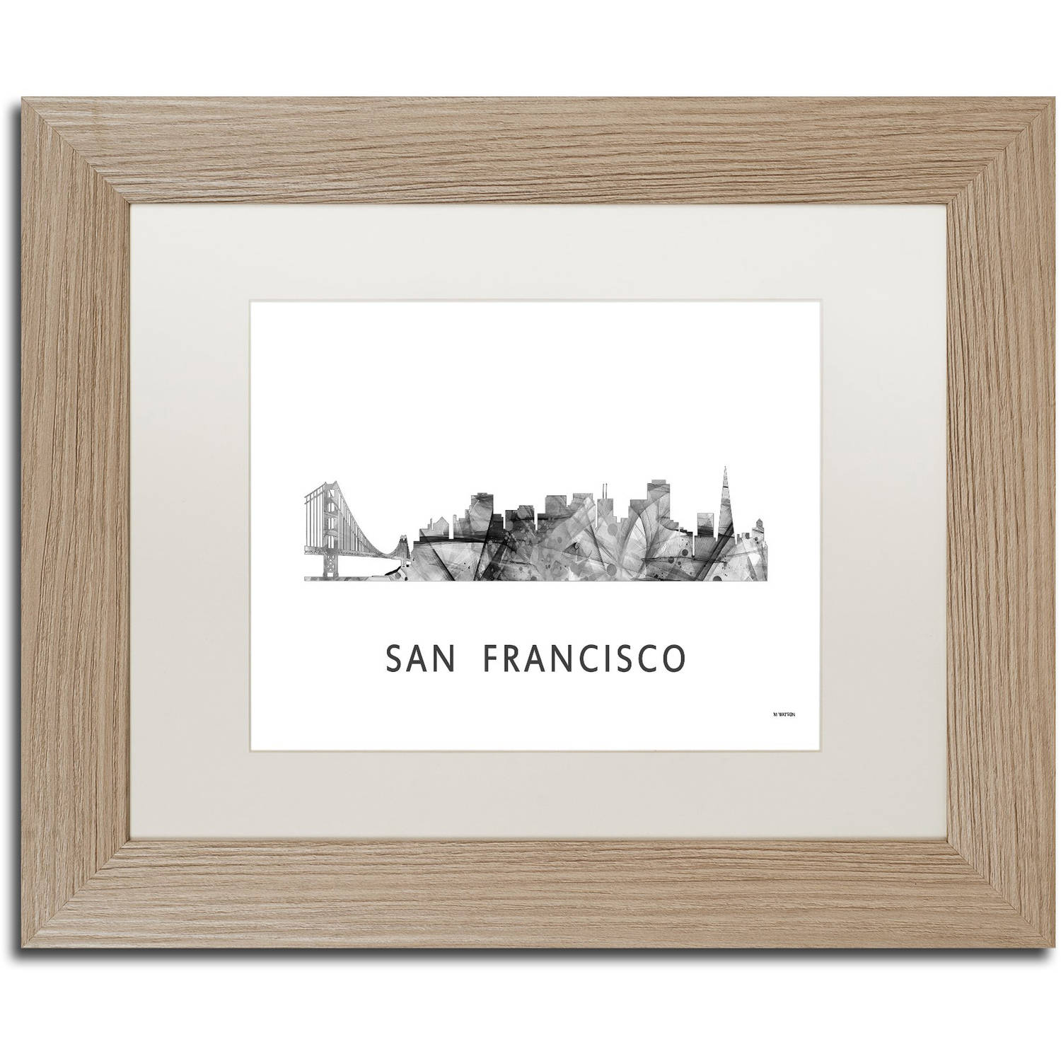 Trademark Fine Art 'San Francisco CA Skyline WB-BW' Canvas Art by Marlene Watson, White Matte, Birch Frame