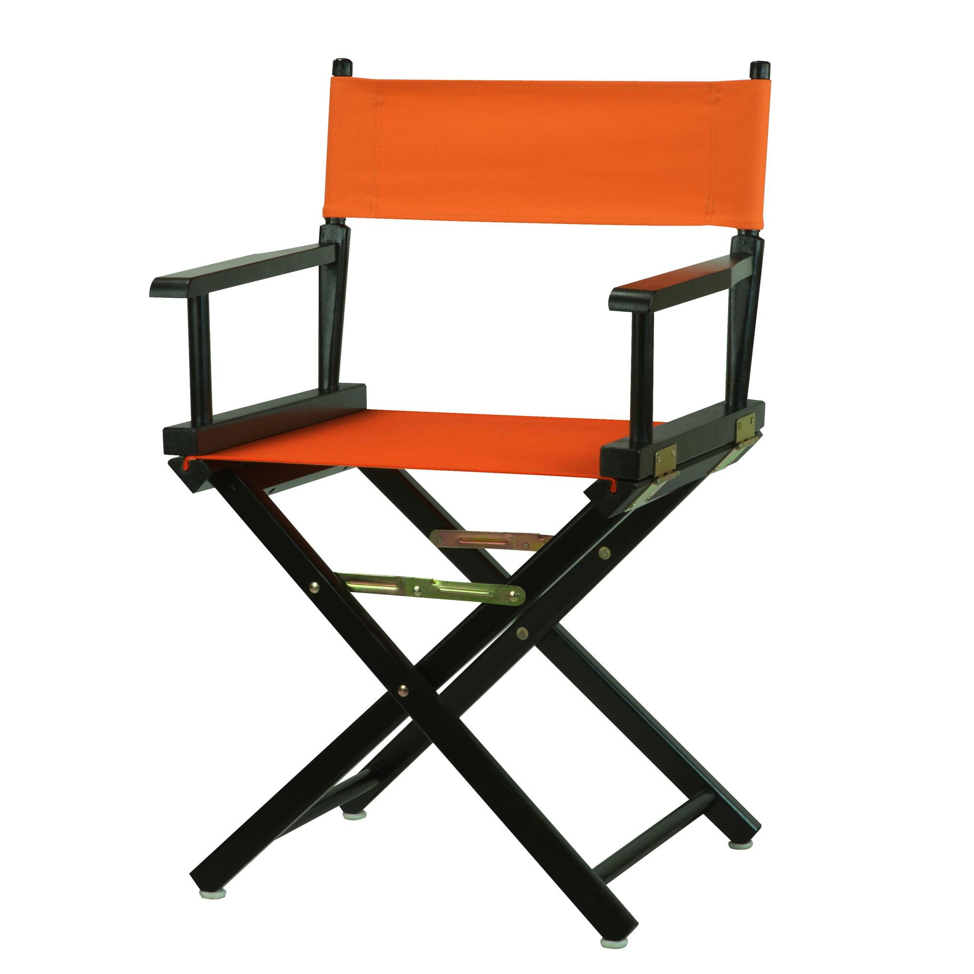 "18"" Director's Chair Black Frame-Tangerine Canvas"