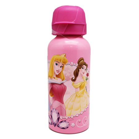 Disney Princess Bottle - Disney Princess Dual-Tone Pink Portable Floral Theme Hard Water Bottle
