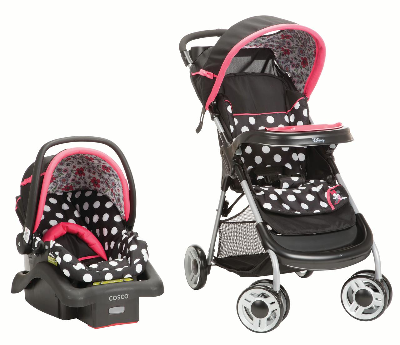 Disney Baby Minnie Mouse Lift & Stroll Plus Travel System (Minnie Coral Flowers)