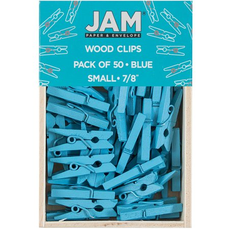 JAM Paper Wood Clip Clothespins - Small - 7/8 - Blue - 50 Clothes Pins/pack - 50 Clothes