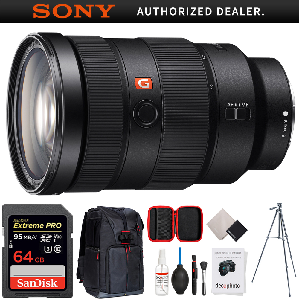 SEL2470GM FE 24-70mm F2.8 GM Full Frame E-Mount Lens + 64GB Ultimate Filter /& Flash Photography Bundle Sony