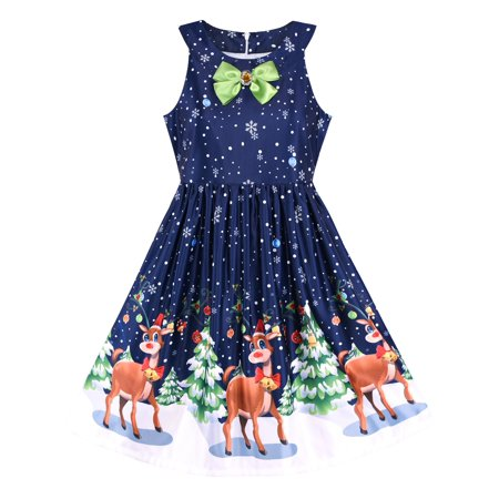 Girls Dress Christmas Eve Christmas Tree Snow Reindeer Party 7 - Snow Coming Dresses