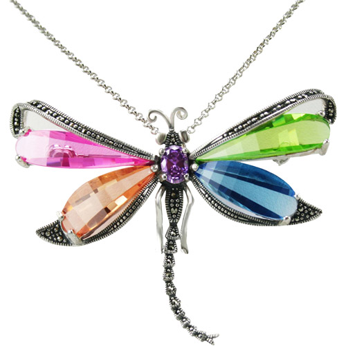 Multi-Color CZ and Marcasite Sterling Silver Dragonfly Pendant, 18""